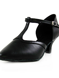 Non Customizable Women's Dance Shoes Modern/Latin/Ballroom/Practice Shoes Leather Stiletto Heel Black