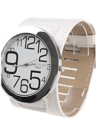 Women's Big Numbers Dial White PU Band Quartz Analog Wrist Watch Cool Watches Unique Watches