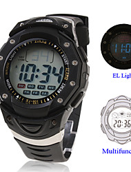 Waterproof Digital Multifunction EL Light Automatic Fashion Watch with Calendar & Alarm & Chronograph - Black Wrist Watch Cool Watch Unique Watch