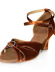 Non Customizable Women's Dance Shoes Latin/Ballroom Satin Low Heel Black/Brown/Red