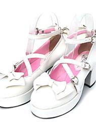Sapatos Doce Cadarço Salto Alto Sapatos Laço 7.5 CM Branco Para Feminino Couro PU/Couro de Poliuretano