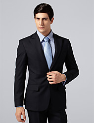 Custom Made Single Breasted Two-button Peak Lapel Side-vented Navy Stripe Suit