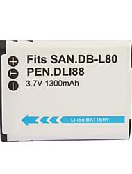 1300mAh batería de la cámara d-li88/db-l80 para Pentax Optio P70