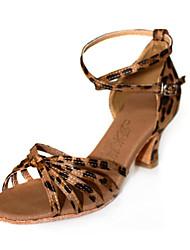 Ткань верхней танцевать бальные туфли латинского обувь для женщин больше цветов