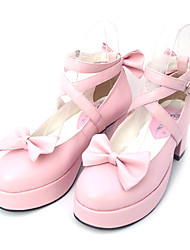 "Cute 2.5"" Cone Heel PU Lolita Shoes with Bow"