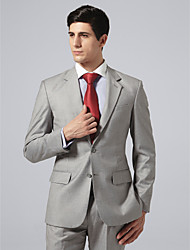 Custom Made Single Breasted Two-button Notch Lapel Side-vented Light Gray Check Suit