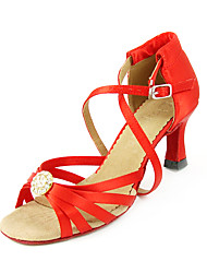 Satin Upper Red High Heel Lace-up Latin Dance Shoes Ballroom Shoes for Women