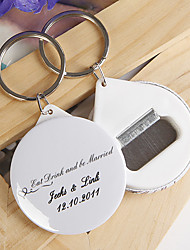 Personalized Bottle Opener / Key Ring - Eat Drink and be Married (set of 12)