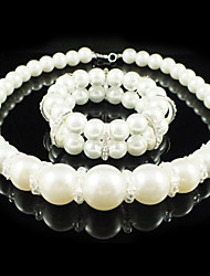 Gorgeous Imitation Pearl Wedding Bridal Jewelry Set Including Necklace And Bracelet