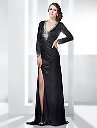 TS Couture Formal Evening Military Ball Dress - Sexy Open Back Sheath / Column V-neck Floor-length Stretch Satin withBeading Crystal