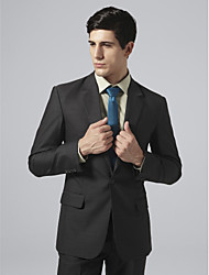 Custom Made Single Breasted One-button Notch Lapel Side-vented Black Suit Jacket
