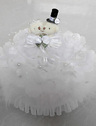 Artificial Flower/ Lace Teddy Bear With Music Box Wedding Ring Pillow