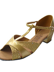 Non Customizable Women's/Kids' Dance Shoes Latin/Ballroom Leatherette/Sparkling Glitter Flat Heel Gold