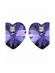 cuore tagliare orecchini di cristallo colorate con schienale platinato