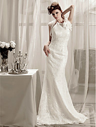 Lanting Trumpet/Mermaid Halter Sweep/Brush Train Lace Wedding Dress With A Wrap