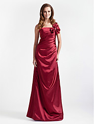 Lanting Floor-length Stretch Satin Bridesmaid Dress - Burgundy Plus Sizes / Petite A-line / Princess One Shoulder