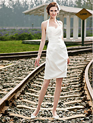 Lanting Bride Sheath/Column Petite / Plus Sizes Wedding Dress-Short/Mini Halter Satin
