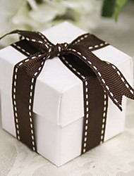 White Square Favor Box With Chocolate Ribbon (Set of 12)