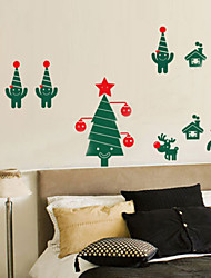 Christmas Decoration Wall Stickers Holiday Ornaments Christmas Trees And Kids