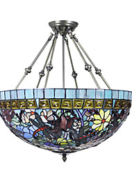 Tiffany Style Delicate Floral Stained Glass Pendant Light with 3 lights