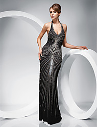 Formal Evening/Military Ball Dress - Black Sheath/Column Halter Floor-length Polyester