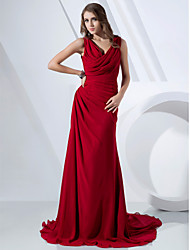 TS Couture® Formal Evening Dress - Elegant Plus Size / Petite Sheath / Column Cowl / V-neck Sweep / Brush Train Chiffon with Side Draping