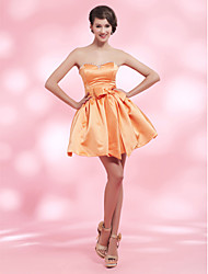 Cocktail Party / Homecoming / Sweet 16 Dress - Orange Plus Sizes / Petite Ball Gown Strapless / Sweetheart Short/Mini Satin