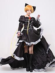 Inspiriert von Vocaloid Kagamine Rin Video Spiel Cosplay Kostüme Cosplay Kostüme / Kleider Patchwork Schwarz Lange ÄrmelKleid /
