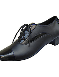 Customizable Men's Dance Shoes Latin/Ballroom Leatherette Chunky Heel Black