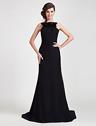 TS Couture® Formal Evening Dress - Open Back Plus Size / Petite Sheath / Column Straps Sweep / Brush Train Chiffon with Ruffles
