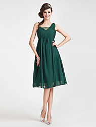 Knee-length Chiffon/Tulle Bridesmaid Dress - Dark Green Plus Sizes A-line/Princess Straps