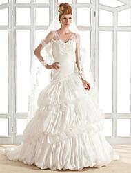Lanting A-line V-neck Court Train Taffeta Wedding Dress