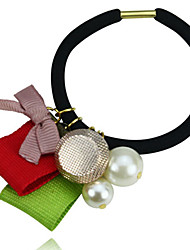 Colorful Ribbon and Pearl Hair Tie