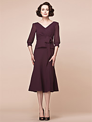 Sheath/Column Plus Sizes / Petite Mother of the Bride Dress - Grape Tea-length 3/4 Length Sleeve Chiffon