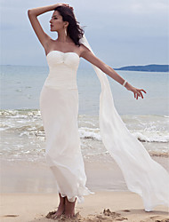 Sheath/Column Plus Sizes Wedding Dress - White Ankle-length Sweetheart Chiffon