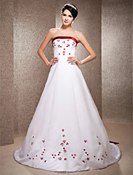 A-line Princess Strapless Chapel Train Satin Wedding Dress with Beading Embroidered by LAN TING BRIDE®
