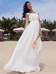 Sheath/Column Plus Sizes Wedding Dress - Ivory Floor-length Scoop Chiffon