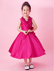 A-line Princess Tea-length Flower Girl Dress - Taffeta V-neck with Bow(s) Draping Flower(s) Side Draping