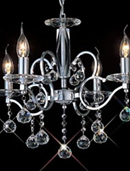 Crystal Chandelier with 4 Lights in Candle Bulb