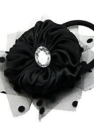 Flower with Polka Dot Mesh Hair Tie
