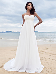 A-Line Sweetheart Court Train Chiffon Wedding Dress with Beading Appliques by LAN TING BRIDE®