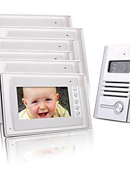 Six 7 Inch Color TFT LCD Video Door Phone Intercom System (1 Alloy Camera)