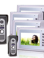 Four 7 Inch Color TFT LCD Video Door Phone with 2 Waterproof Cameras (420 TVL)