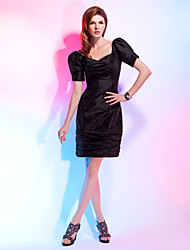 TS Couture® Cocktail Party Dress - Little Black Dress Plus Size / Petite Sheath / Column V-neck Knee-length Taffeta with Ruching