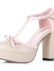 Leather Platform Chunky Heel T-strap Sandals With Bow