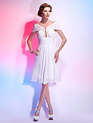 Cocktail Party / Homecoming / Graduation Dress - White Plus Sizes / Petite A-line / Princess Off-the-shoulder / V-neck Knee-length Chiffon