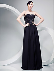TS Couture Formal Evening Military Ball Dress - Open Back Celebrity Style A-line Strapless Floor-length Chiffon withBeading Draping Side