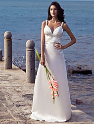 LAN TING BRIDE Sheath / Column Wedding Dress - Chic & Modern Open Back Sweep / Brush Train Straps Stretch Satin with Beading