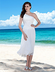 Lanting Bride Sheath/Column Petite / Plus Sizes Wedding Dress-Tea-length One Shoulder Chiffon