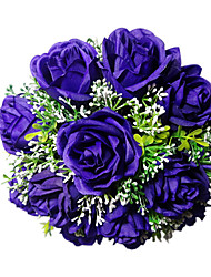 Royal Purple Satin Rose Bridal Bouquet